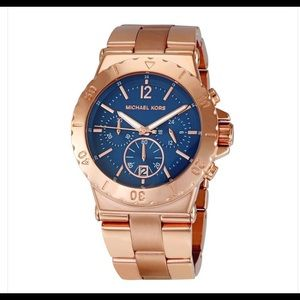 Michael Kors rose gold watch with navy face